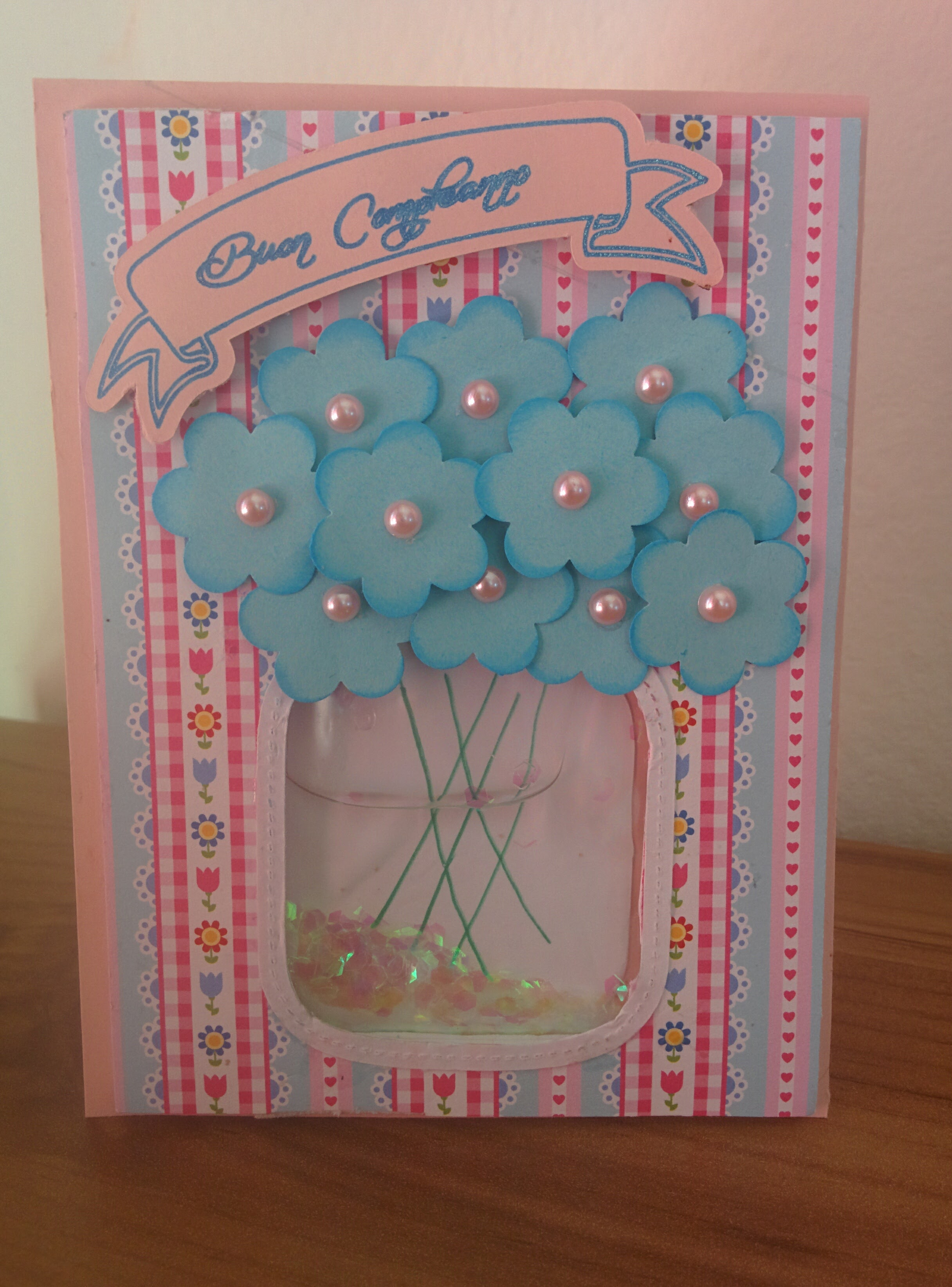 Fiori in mason jar: liquid shaker card